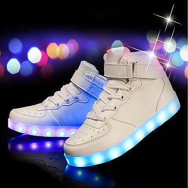 baratos LED Sapatos-Para Meninos Couro Ecológico Tênis Little Kids (4-7 anos) / Big Kids (7 anos +) Conforto / Tênis com LED LED Branco / Preto / Vermelho Primavera Verão / Festas & Noite / TR