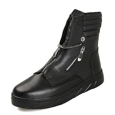 Męskie Buty PU Jesień Zima Modne obuwie Comfort Buciki na Casual White Black Czerwony Black/White
