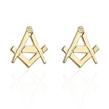 Alphabet Shape Golden Manžetové knoflíčky Miedź Odpoczynek Cicha sympatia Męskie Biżuteria kostiumowa