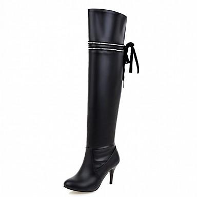 Damen Schuhe Kunstleder PU Winter Komfort Neuheit Modische Stiefel Stiefel Runde Zehe Übers Knie Band-Bindung Für Kleid Party & Festivität