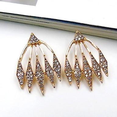 Damskie Kolczyki na sztyft Kolczyki dwuczęściowe Rhinestone Wyrazista biżuteria Modny Stop Geometric Shape Biżuteria White Codzienny