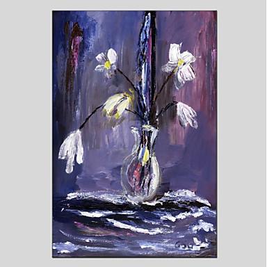 Hang-Malowane obraz olejny Ręcznie malowane - Kwiatowy / Roślinny Nowoczesny Brezentowy / Rozciągnięte płótno