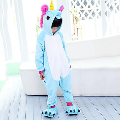 Kid's Kigurumi Pajamas Unicorn Flying Horse Onesie Pajamas Flannel Fabric Purple / Blue / Pink Cosplay For Boys and Girls Animal Sleepwear Cartoon Halloween Festival / Holiday