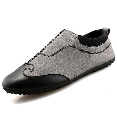 Męskie Buty PU Materiał Wiosna Jesień Mokasyny Comfort Mokasyny i pantofle na Casual Black Gray Czerwony