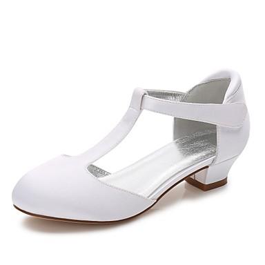 Mädchen Schuhe Seide Frühling / Herbst Komfort / Ballerina / Knöchelriemen High Heels Schnalle / Schnürsenkel für Weiß / Elfenbein / Hochzeit / Party & Festivität / Schuhe für das Blumenmädchen