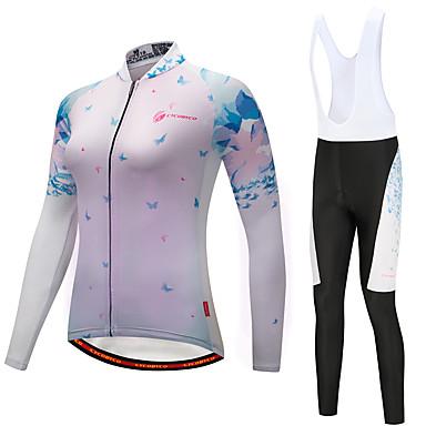 CYCOBYCO Koszulka i spodnie z szelkami na rower Damskie Długi rękaw Rower Zestawy odzieży Zima Runo Odzież rowerowa Quick Dry 3D PAD