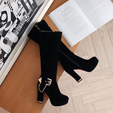 Bottes Bout Mariage Mi pointu Noir haut Automne Daim 06407073 Bottes Hiver Rouge Chaussures Confort Talon Femme Nouveauté mollet PApzUwxqg