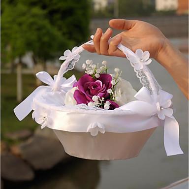 abordables Paniers de Fleurs-Panier de fleurs Satin / Dentelle 22 cm 1 pcs