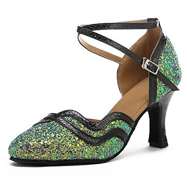 נעליים מודרניות Paillette / דמוי עור סנדלים / עקבים קשתות עקב מותאם מותאם אישית נעלי ריקוד ירוק / שחור