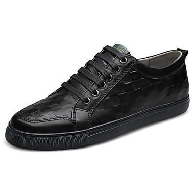 Herren Schuhe Leder Frühling Herbst Komfort Sneakers Für Normal Schwarz