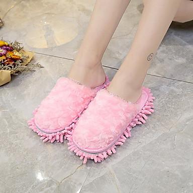 Mujer Rosa Plano Cachemira y redondo flops Confort Claro Dedo Otoño Invierno Azul flip Zapatillas Tacón Verde 06296397 Zapatos rq6BCr