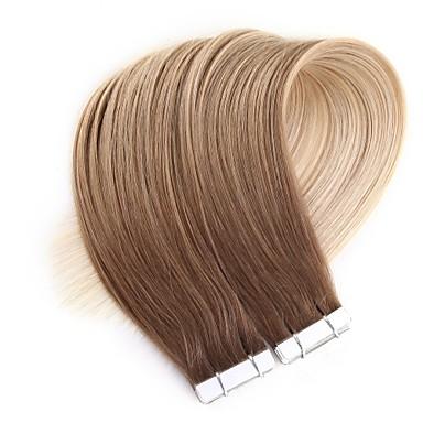 voordelige Extensions van echt haar-Neitsi Tape-in Extensions van echt haar Recht Echt haar Huidinslag haarverlenging 24 inch(es) Blond Ombre 20pcs Veelkleurig Dames Beige Blonde / Bleached Blonde / 8A