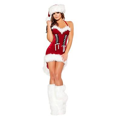 Weihnachtsmann / FrauClaus Austattungen Damen Weihnachten Fest / Feiertage Halloween Kostüme Rot Solide / Weihnachten
