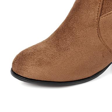 Hiver rond la à Bottes Mode Cuissarde Marron Bottes Chaussures Bout Flocage Femme 06359457 Noir zwqEx61CW