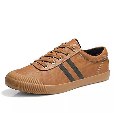 Herren Schuhe PU Winter Komfort Sneakers Schnürsenkel Für Normal Schwarz Grau Braun