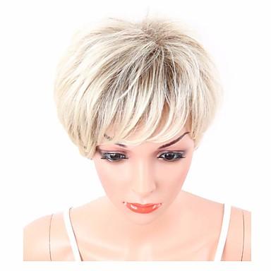 Peruki syntetyczne Falisty Fryzura cieniowana Z grzywką Gęstość Bez czepka Damskie Blond Czarny Celebrity Wig Peruka imprezowa Peruka