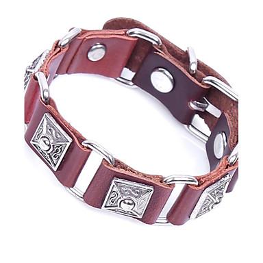 voordelige Herensieraden-Heren Lederen armbanden Armband Schakelarmband Siernagel meetkundig Vintage Rock Leder Armband sieraden Zwart / Koffie Voor Causaal Club