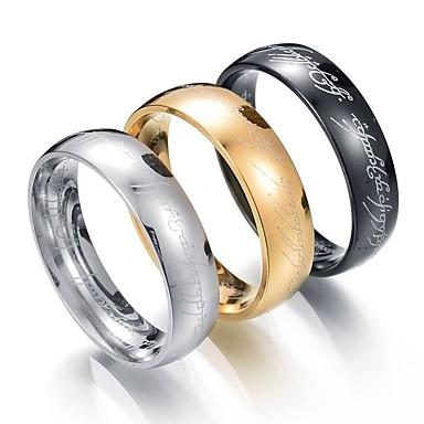 voordelige Herensieraden-Heren Bandring 1 Zwart Zilver Gouden Roestvast staal Metaal Cirkelvorm Bruiloft mielitietty Sieraden Goedkoop