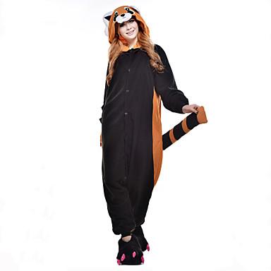 Kigurumi Pajamas Bear Raccoon Onesie Pajamas Costume Polar Fleece Synthetic Fiber Black Cosplay For Animal Sleepwear Cartoon Halloween