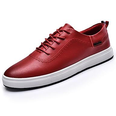 Herrn Schuhe PU Frühling / Herbst Komfort Sneakers Schwarz / Braun / Rot