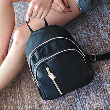 Damen Taschen Oxford Tuch Rucksack Reißverschluss Schwarz