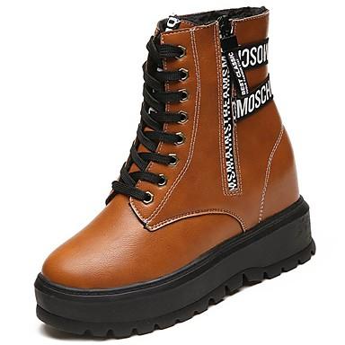 Damskie Obuwie Guma Zima Obuwie w stylu wojskowym Buciki Okrągły Toe Black / Light Brown