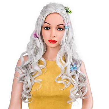 Peruki syntetyczne Naturalne fale Fryzura cieniowana Włosy syntetyczne Naturalna linia włosów Szary Peruka Damskie Długo cosplay peruka
