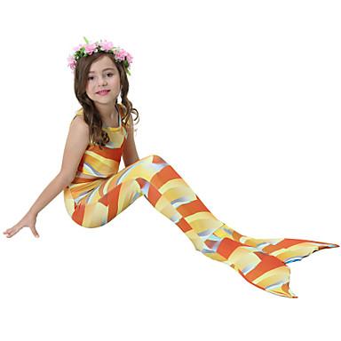 בנות חמוד פעיל דפוס בגדי ים, כותנה פוליאסטר ללא שרוולים כתום