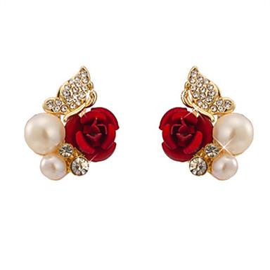 abordables Boucle d'Oreille-Femme Boucles d'oreille Clou Fleur dames Imitation de perle Imitation Diamant Des boucles d'oreilles Bijoux Rouge Pour Quotidien Sortie