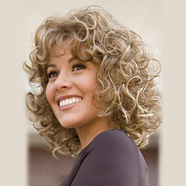 Human Hair Capless Wigs Human Hair Curly Wavy Highlighted/Balayage Hair Medium Machine Made Wig Women's