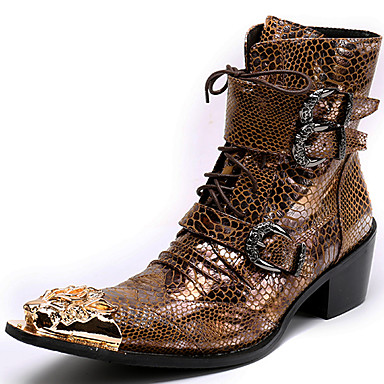 Unisex Fashion Boots Nappa Vintage Leather Fall / Winter Vintage Nappa Boots Mid-Calf Boots Color Block Gold / Party & Evening d97a5d