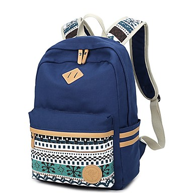 cheap Backpacks-Women's Bags Canvas Backpack Pattern / Print Blue / Black / Blushing Pink