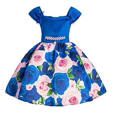 お買い得  女児 ドレス-子供 女の子 活発的 日常 お出かけ ソリッド フラワー 装飾&刺繍 半袖 コットン ポリエステル ドレス ブルー / キュート / プリンセス