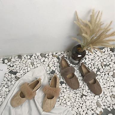 redondo Tacón Dedo Slip On Mujer taco PU Invierno Plano Otoño Almendra Café Zapatos Zapatos 06431092 y bajo de Confort CqCZpx