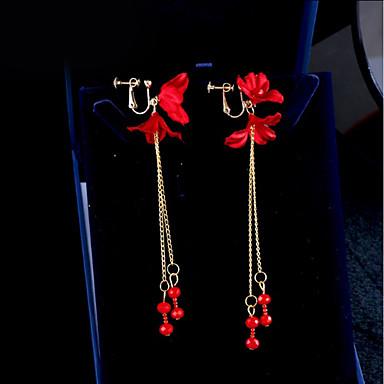 voordelige Dames Sieraden-Dames Clip oorbellen Oorbellen hangen Bloem Dames Koreaans oorbellen Sieraden Rood Voor Dagelijks Avond Feest