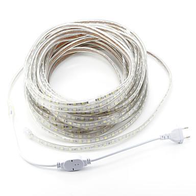 billige LED Strip Lamper-zdm ac220v 20m 1200 smd leds 5050 led smd enkeltkjerne utendørs vanntett fleksibel tape rep stripe lys eu plug