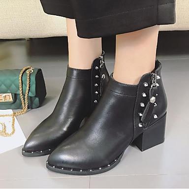 4ae32a28991d Femme Chaussures Polyuréthane Hiver Automne boîtes de Combat Bottes Talon  Bottier Bout rond Bottine Demi Botte Rivet pour Décontracté Noir de 6453512  2019 à ...