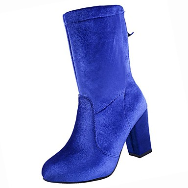 60db76a6538 Women s Shoes PU Winter Combat Boots Boots Chunky Heel Round Toe Mid-Calf  Boots for Casual Black Royal Blue Burgundy  06450955