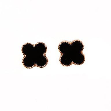 Damskie Kolczyki na sztyft - Słodkie Koreański White Black Czterolistna koniczyna Kolczyki Na Codzienny Randka