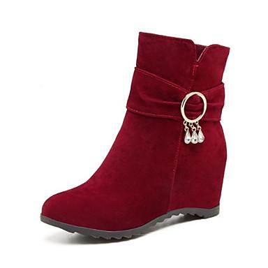 06449259 semelle Botillons Hauteur Femme Nouveauté Automne rond Cuir Confort compensée Bout Bottes pointu Nubuck de Chaussures Hiver Bout SAPqT