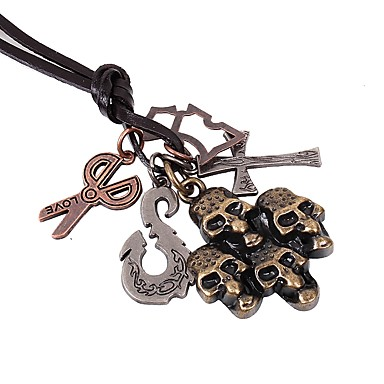 voordelige Dames Sieraden-Heren Hangertjes ketting Kruis Schedel Scharen Rock Gothic Modieus Legering Bronzen Kettingen Sieraden 1 Voor Straat Feestdagen