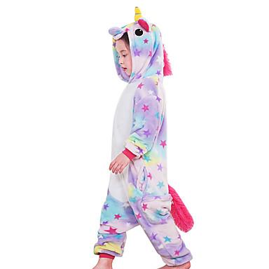 Kid's Kigurumi Pajamas Unicorn / Flying Horse Onesie Pajamas Costume Flannel Fabric Rainbow / Blue / Pink Cosplay For Animal Sleepwear Cartoon Halloween Festival / Holiday / Christmas