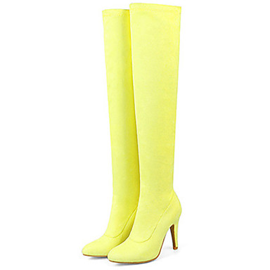 e087bfed29ac Women's Boots Flat Heel Pointed Toe PU Leather Knee High Boots Comfort /  Novelty / Fashion Boots Spring / Fall Yellow / Fuchsia / Pink / Wedding /  Party & ...