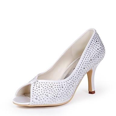 Eté Evénement Bout Soie Strass mariage 06457979 Blanc de Chaussures Printemps Soirée Escarpin Basique ouvert Mariage Talon Chaussures amp; Femme Aiguille OpWUcnqn