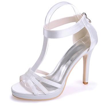 Printemps Bout Chaussures Femme Aiguille ouvert 06421707 Satin Ivoire Rouge Champagne Eté Sandales Basique Escarpin Talon E1TRqTw