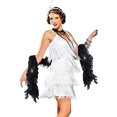 Gatsby Vintage Lata 20. Kostium Damskie Bal maskowy Sukienka w stylu lat 20-tych Sukienka koktajlowa Biały Postarzane Cosplay Poliester Bez rękawów Zimne ramię Do kolan