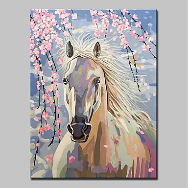 Hang-Malowane obraz olejny Ręcznie malowane - Zwierzęta Zwierzęta / Nowoczesny Zwinięte płótna / Zwijane płótno