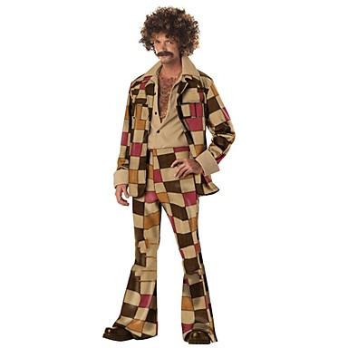 Vintage 1970s Hipisowskie Kostium Męskie Spodnie Brown Postarzane Cosplay Poliester Długi rękaw Dzwon Majtki