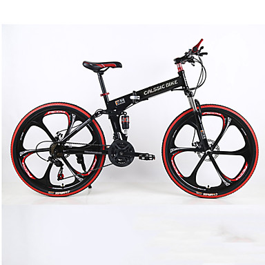 Folding Bike Mountain Bike Cycling 21 Speed 26 Inch/700CC SHIMANO TX30 Double Disc Brake Springer Fork Rear Suspension Ordinary/Standard