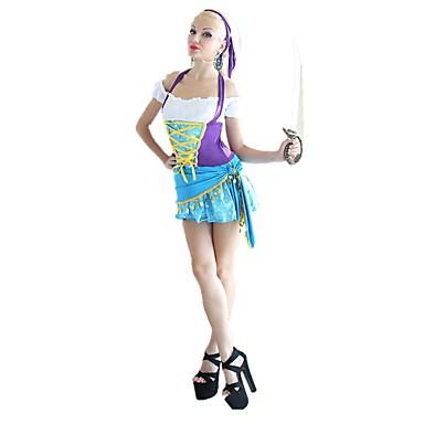 Outfits Kostium Damskie Bal maskowy Niebieski Postarzane Cosplay Poliester Krótki rękaw Zimne ramię Asymetryczna